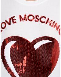 Love Moschino - White Short Sleeve T-shirts - Lyst
