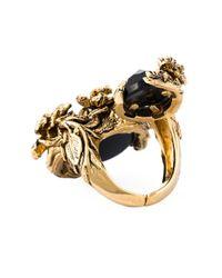 Roberto Cavalli - Black Swarovski Crystal Floral Ring - Lyst