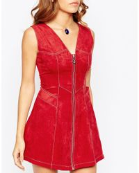 ASOS - Red Suedette A-line Dress - Lyst