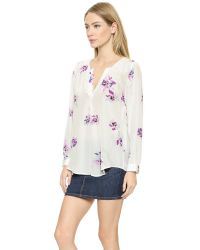 Joie - White Deon B Long-sleeve Silk Floral Blouse - Lyst