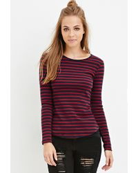Forever 21 - Blue Heathered Stripe Top - Lyst