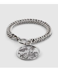 Gucci | Metallic Flora Bracelet In Sterling Silver for Men | Lyst