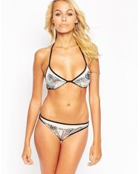 ASOS - Metallic Sequin Embellished Mesh Cut Out Side Bikini Bottom - Lyst