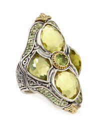 Konstantino | Metallic Lemon Topaz & Peridot Flower Motif Ring | Lyst