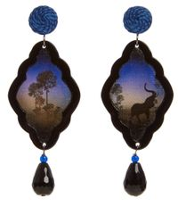 Anna E Alex | Brown Elephant Safari Deco Wooden Earrings | Lyst
