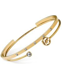 Michael Kors | Metallic Gold-Tone Crystal Logo Bangle Bracelet Set | Lyst
