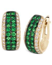 Le Vian | Metallic Tsavorite (1-1/3 Ct. T.W.) And Diamond (3/8 Ct. T.W.) Pave Hoop Earrings In 14K Gold | Lyst
