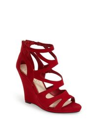 Jessica Simpson - Red 'Delina' Sandal - Lyst