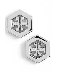 Tory Burch | Metallic Logo Hexagon Stud Earrings - Tory Silver | Lyst