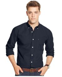 Tommy Hilfiger | Blue Solid Long-sleeve Button-down Shirt for Men | Lyst