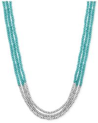 Lucky Brand | Metallic Silver-tone And Stone Beaded Three-row Necklace | Lyst