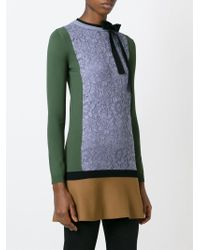 Valentino - Blue Lace Panel Knit Top - Lyst