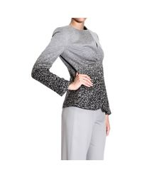 Giorgio Armani - Gray Blazer Neckless Draped Printed Jacket - Lyst