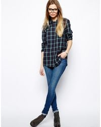 ASOS - Blue Shirt in Classic Tartan Check - Lyst