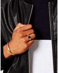 ASOS | Metallic Gold Plated Signet Ring And Bangle Set for Men | Lyst