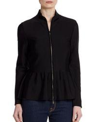 Armani - Black Peplum Zip Jacket - Lyst