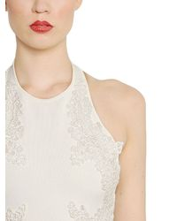 Elie Saab - White Viscose Knit & Silk Georgette Dress - Lyst