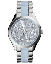 Michael Kors - Blue Women'S Slim Runway Chambray Acetate And Stainless Steel Bracelet Watch 42Mm Mk4297 - Lyst