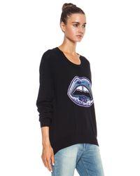 Markus Lupfer - Black Graphic Lara Lip Sequin Merino Wool Sweatshirt - Lyst
