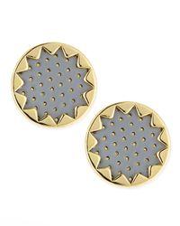 House of Harlow 1960 - Metallic Sunburst Button Stud Earrings Gray - Lyst