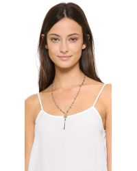 Chan Luu | Metallic Beaded Drop Pendant Necklace - Pyrite | Lyst