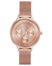 Skagen - Pink Women's Anita Rose Gold-tone Stainless Steel Mesh Bracelet Watch 36mm Skw2314 - Lyst
