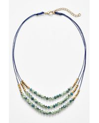 Panacea - Metallic Triple Row Beaded Quartz Necklace - Mint - Lyst