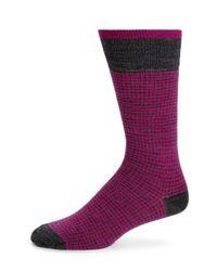 Saks Fifth Avenue   Pink Merino Wool-blend Houndstooth Socks for Men   Lyst
