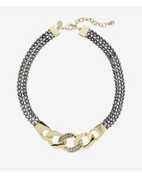 Express | Metallic Pave Embellished Status Link Necklace | Lyst