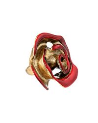 Oscar de la Renta | Red Resin Painted Flower Ring | Lyst
