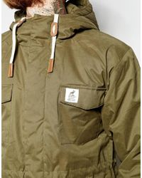 Fat Moose | Green Wax Parka With Hood for Men | Lyst