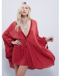 Free People | Red Get Yer Gauze Tunic | Lyst