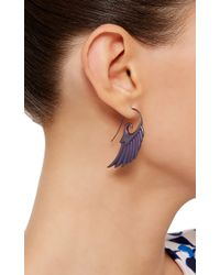 Noor Fares | Fly Me To The Moon Wing Earrings In Blue Titanium | Lyst