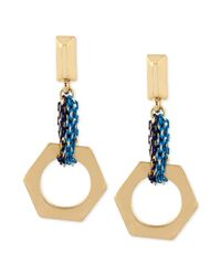 Kenneth Cole | New York Tritone Blue Mixed Chain Geometric Drop Earrings | Lyst