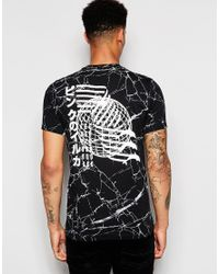 Pink Dolphin - Black T-shirt With Back Print for Men - Lyst
