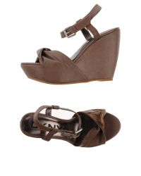 DKNY - Brown Janelle Multi-strap Leather Sandals - Lyst