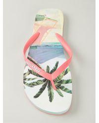 DSquared² Blue Palm Tree Flip Flops for men
