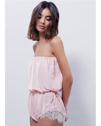 Free People - Pink Pretty Little Things Romper - Lyst