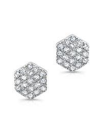 Anne Sisteron - 14kt White Gold Hexagon Diamond Stud Earrings - Lyst