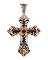 Konstantino | Metallic Silver & 18K Rhodolite Cross Pendant | Lyst