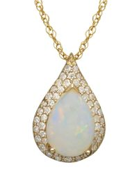 Lord & Taylor | Metallic 14k Yellow Gold Opal And Diamond Pendant | Lyst
