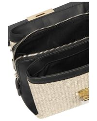 Balenciaga - Black Le Dix Mini Leather And Woven Raffia Shoulder Bag - Lyst