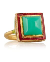 Alice Cicolini | Green Jodhpur Enameled 22-karat Gold Chrysoprase and Diamond Ring | Lyst