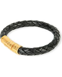 Nialaya | Black 18ct Gold And Snake-print Leather Bracelet | Lyst