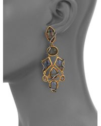 Alexis Bittar - Metallic Elements Phoenix Labradorite & Crystal Clip-On Drop Earrings - Lyst