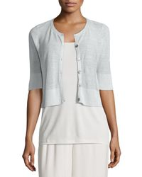 Eileen Fisher - White Half-sleeve Button-front Short Cardigan - Lyst