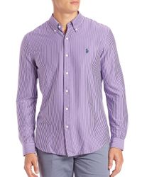 Polo Ralph Lauren | Purple Striped Cotton Sportshirt for Men | Lyst