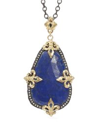Armenta | Blue Uneven Lapis & Diamond Enhancer | Lyst