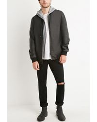 Forever 21 | Black Faux Leather Hooded Jacket for Men | Lyst