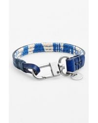 Caputo & Co. - Blue . Reversible Canvas & Leather Wrap Bracelet for Men - Lyst